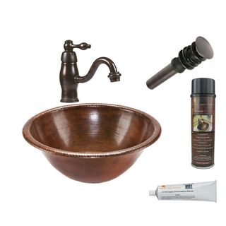 Premier Copper Products Round Self Rimming Hammered Copper Sink with Orb Single Handle Faucet