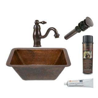 Premier Copper Products Rectangle Hammered Copper Sink with Orb Single Handle Faucet