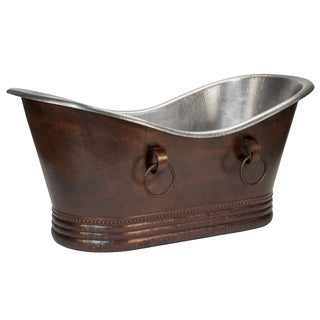 Premier Copper 67-inch Hammered Copper Double Slipper Bathtub With Rings - Nickel Interior and Oil Rubbed Bronze Exterior