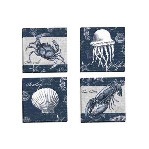 shop portfolio canvas decor elena vladykina 39 sea life blue crab 39 framed canvas wall art set of. Black Bedroom Furniture Sets. Home Design Ideas