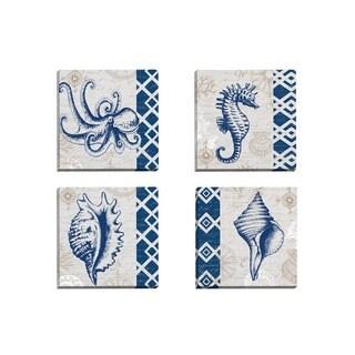 Portfolio Canvas Decor Elena Vladykina 'Tahiti Octopus' Framed Canvas Wall Art (Set of 4)