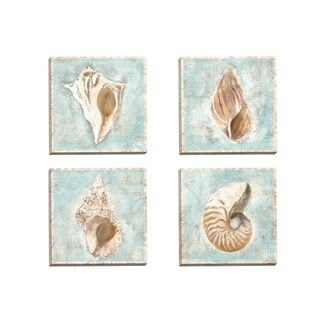 Portfolio Canvas Decor Guy Cali 'Framed Shells I' Framed Canvas Wall Art (Set of 4)