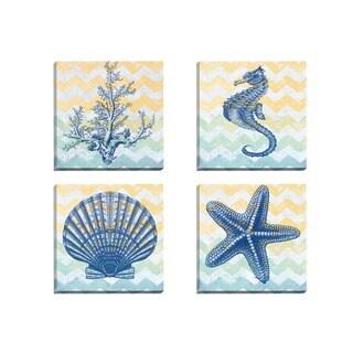 Portfolio Canvas Decor Jean Plout 'Chevron Coral' Framed Canvas Wall Art (Set of 4)