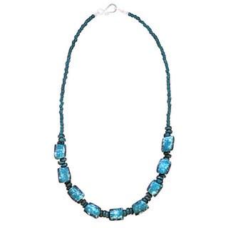 Handmade Global Mamas Blue Glass Bead Necklace (Ghana)