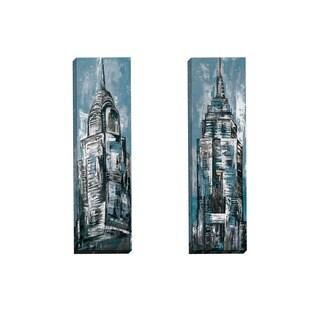 Portfolio Canvas Decor Sandy Doonan 'NY Study Blue I' Framed Canvas Wall Art (Set of 2)