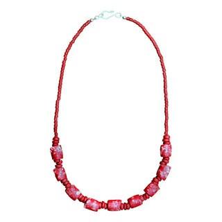 Handmade Global Mamas Poppy Marble Necklace (Ghana)