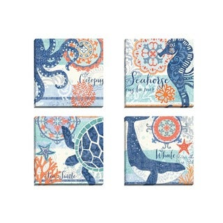 Portfolio Canvas Decor Jennifer Brinley 'North Shore Octopus' Framed Canvas Wall Art (Set of 4)