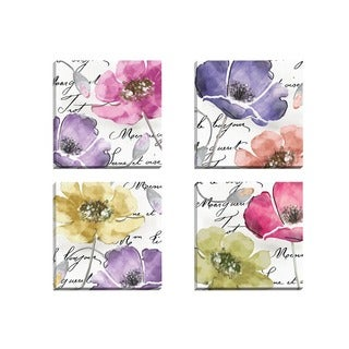 Portfolio Canvas Decor Mindy Sommers 'Watercolors 1' Framed Canvas Wall Art (Set of 4)