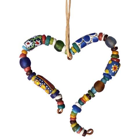 Handmade Global Mamas Sister Heart Beaded Ornament (Ghana)