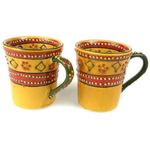 Set of 2 Handmade Flared Encantada Pottery Mugs (Mexico)