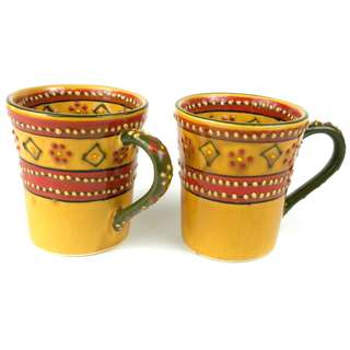 Set of 2 Hand-painted Flared Encantada Pottery Mugs (Mexico)