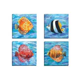 Portfolio Canvas Decor Sandy Doonan 'Tropical Colors 2' Framed Canvas Wall Art (Set of 4)