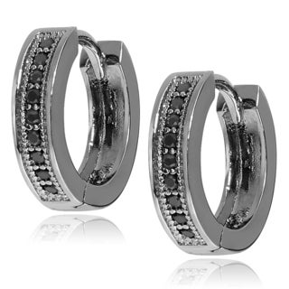 Journee Collection Sterling Silver Cubic Zirconia Accent Huggie Hoop Earrings