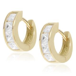 Journee Collection Sterling Silver Cubic Zirconia Huggie Hoop Earrings
