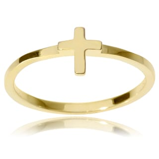 Journee Collection Sterling Silver Cross Emblem Ring