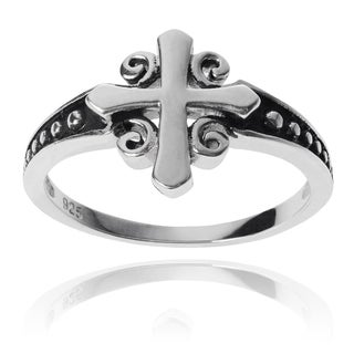Journee Collection Sterling Silver Cross Ring