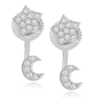 Journee Collection Sterling Silver Cubic Zirconia Star and Moon Post Earrings