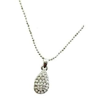 Mama Designs Rhinestone Teardrop Rhodium-plated Necklace