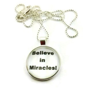 Mama Designs Handmade Inspirational Glass Dome Charm Sterling Silver or Leather Necklace