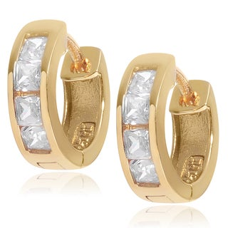 Journee Collection Sterling Silver CZ Accent Clasp Hoop Earrings