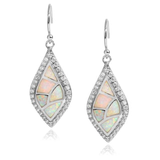 Journee Collection Sterling Silver Cubic Zirconia Opal Inlay Dangle Earrings