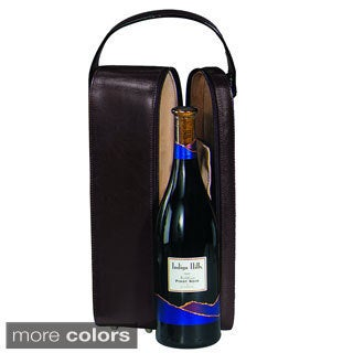 Royce Leather Luxury Suede Lined Single Wine Carrying case in Genuine Leather