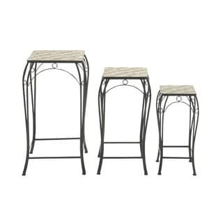 Indoor/ Outdoor Grey Metal Stone Plant Stand (Set of 3)