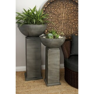 Set of 2 Traditional Gray Metal Column Planters by Studio 350
