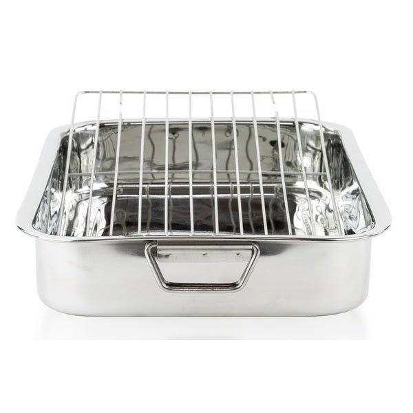 "Stainless Steel Roasting Pan - 16"" Turkey Roaster Pan with Rack"