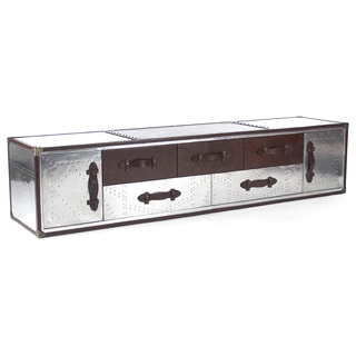 Long Drawered Leather/ Aluminum Chest