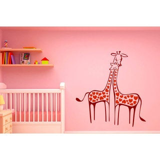 Cute Giraffes Vinyl Sticker Wall Art Burgundy and Red