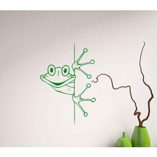 Cute Curious Frog Vinyl Sticker Wall Art