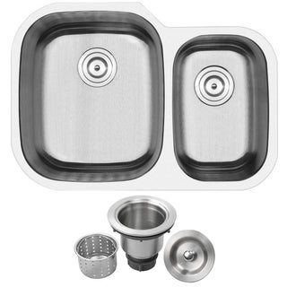 Phoenix 29.5-inch Stainless Steel 18 Gauge Undermount Double Bowl 70/30 Kitchen Sink