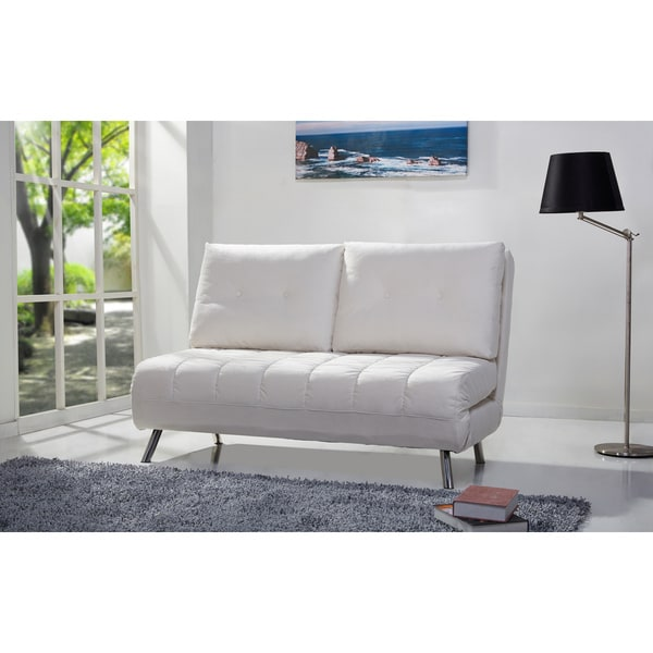 Shop Tampa Ivory Convertible Loveseat Sleeper Free