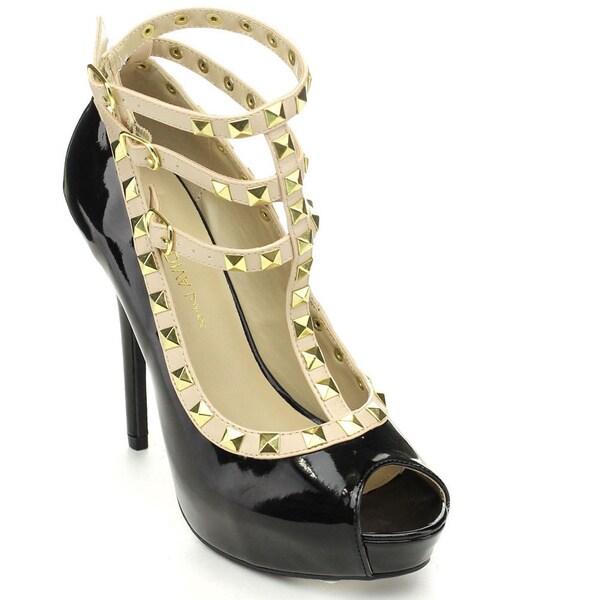 Wild Diva SONNY-292 Women's Peep Toe Stiletto Studded Ankle Strap Dress Heels