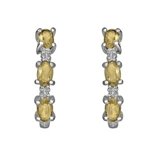 Sterling Silver Citrine and White Topaz Earrings
