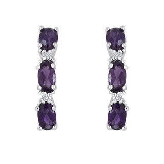 Sterling Silver Amethyst and White Topaz Earrings