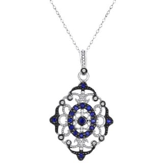 Sterling Silver Sapphire and Diamond Accent Silver Link Necklace