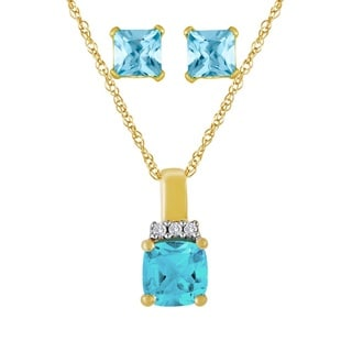 Goldplated Sterling Silver Blue Topaz Jewelry Set