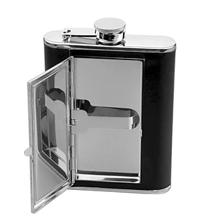 6.5-ounce Leather Wrap Executive Flask with Cigarette Case