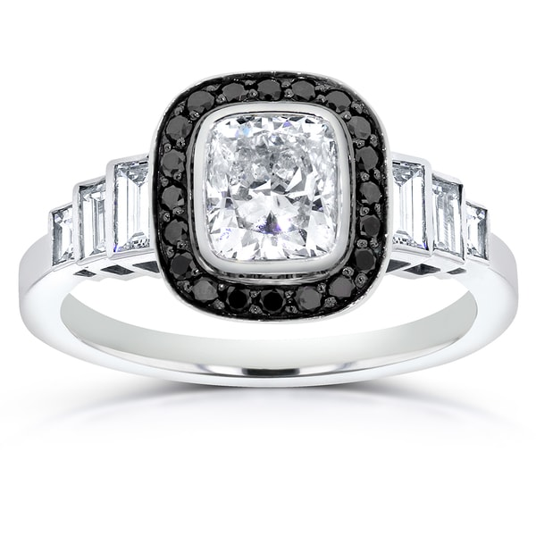 Annello by Kobelli 14k White Gold 1 3/4ct Certified Cushion-cut Black and White Diamond Engagement R -  BW, 71132X