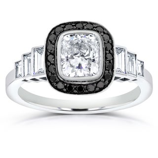 Annello 14k White Gold 1 3/4ct Certified Cushion-cut Black and White Diamond Engagement Ring (H, SI2-SI3)