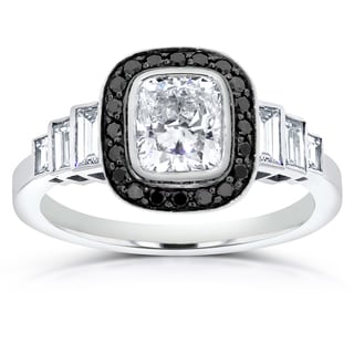 Annello by Kobelli 14k White Gold 1 3/4ct Certified Cushion-cut Black and White Diamond Engagement R