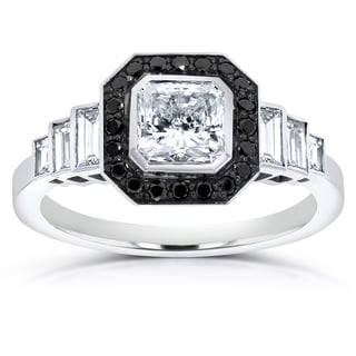 Annello by Kobelli 14k White Gold 1 3/4ct Certified Radiant-cut Black and White Diamond Engagement R