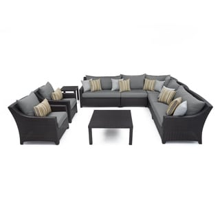 RST Brands Deco 9-piece Corner Sectional and Club Chair Set with Charcoal Grey Cushions