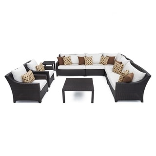 RST Brands Deco 9-piece Corner Sectional and Club Chair Set with Moroccan Cream Cushions