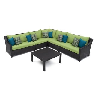 RST Brands Deco 6-piece Corner Sectional Set with Gingko Green Cushions