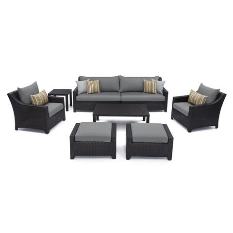 RST Brands Deco 8-piece Sofa and Club Chair Deep Seating Set with Charcoal Grey Cushions