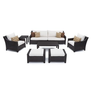 RST Brands Deco 8-piece Sofa and Club Chair Deep Seating Set with Moroccan Cream Cushions