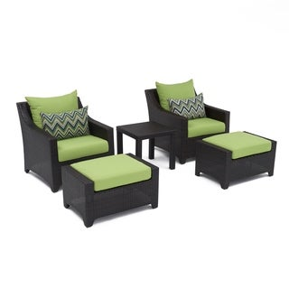 RST Brands Deco 5-piece Club Chair and Ottoman Set with Gingko Green Cushions